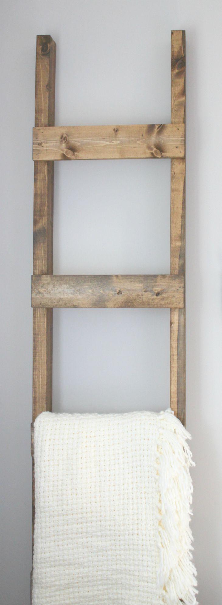 DIY Ladder Rack  30 Minute DIY Blanket Ladder