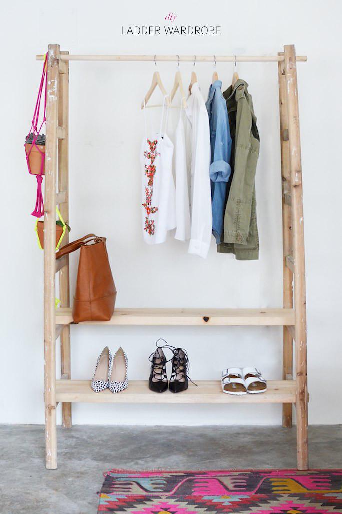 DIY Ladder Rack  DIY Ladder Wardrobe
