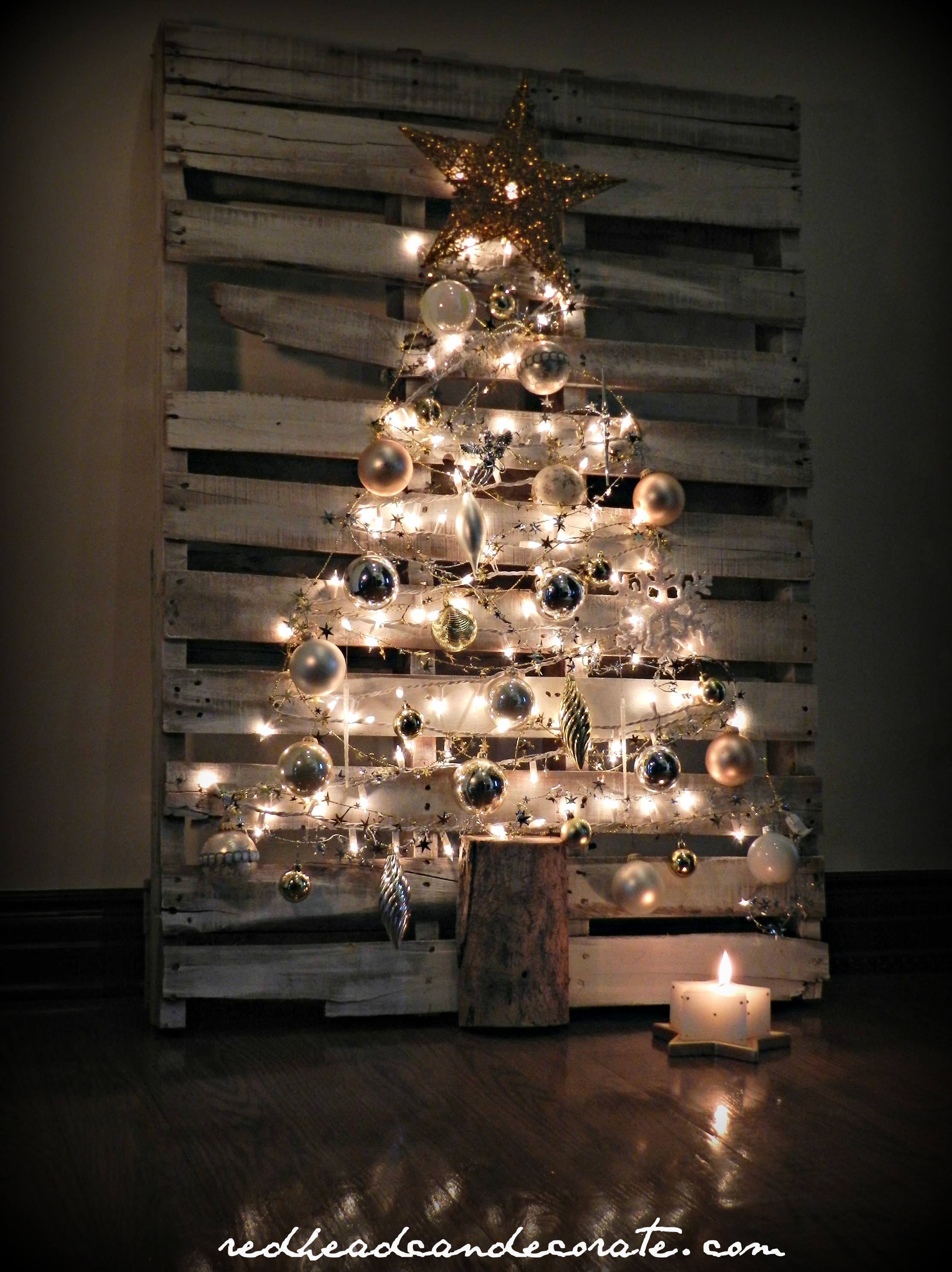 DIY Pallet Christmas Tree  Pallet Christmas Tree Redhead Can Decorate
