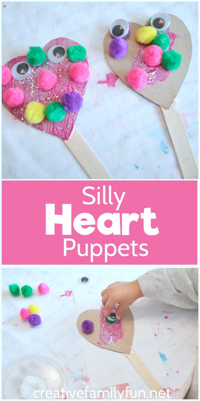 Easy Valentine Crafts For Preschoolers  Silly Heart Puppet Valentine Craft