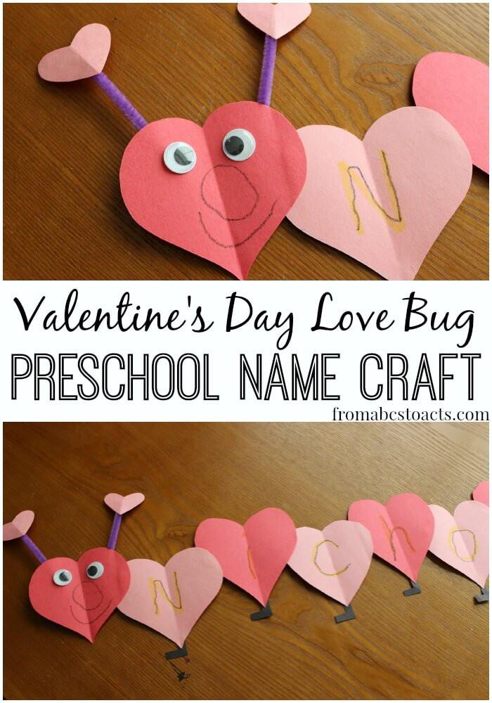 Easy Valentine Crafts For Preschoolers  Love Bug Name Craft for Preschoolers