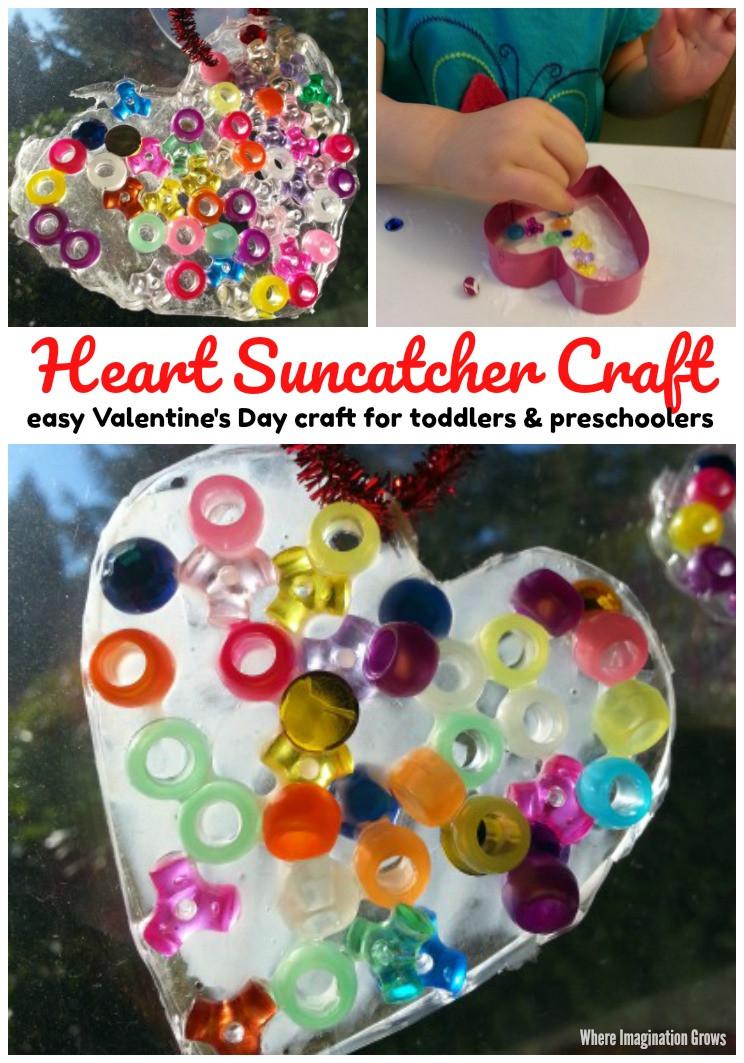 Easy Valentine Crafts For Preschoolers  Valentine s Day Heart Suncatcher Craft Where Imagination