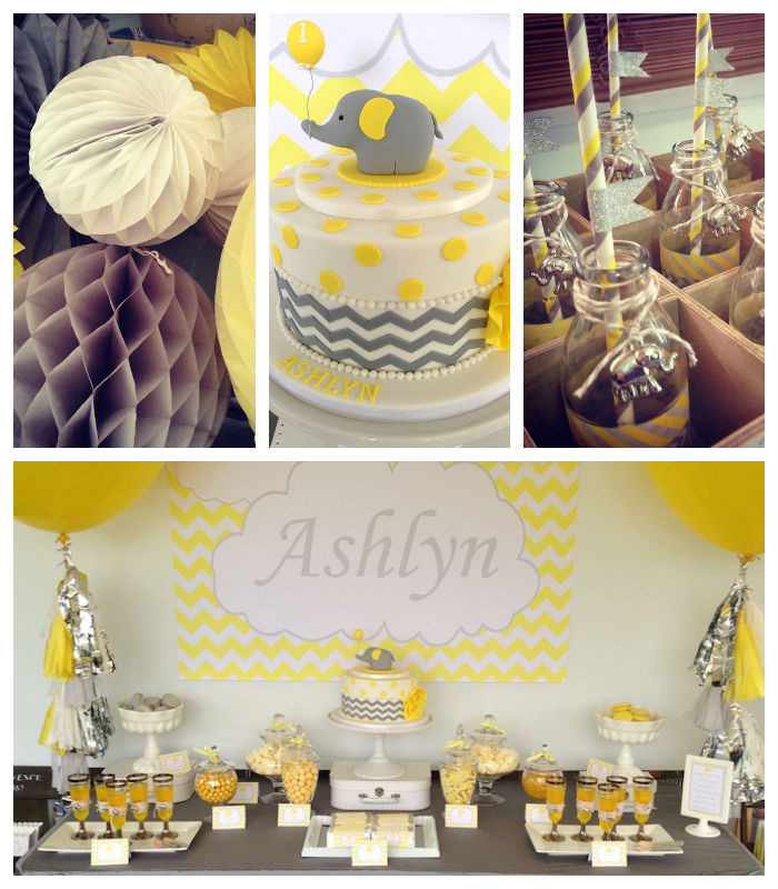 Elephant Birthday Decorations  Kara s Party Ideas Yellow Grey Elephant Themed Birthday