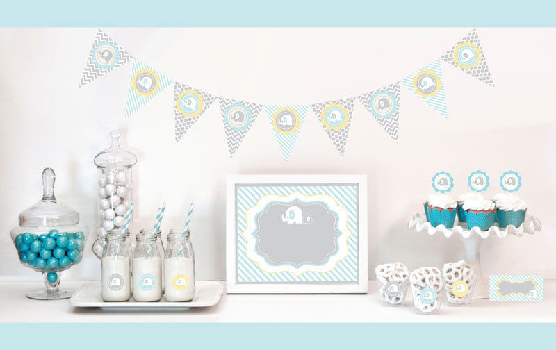 Elephant Birthday Decorations  Blue Elephant Baby Shower Party Decorations Starter Kit