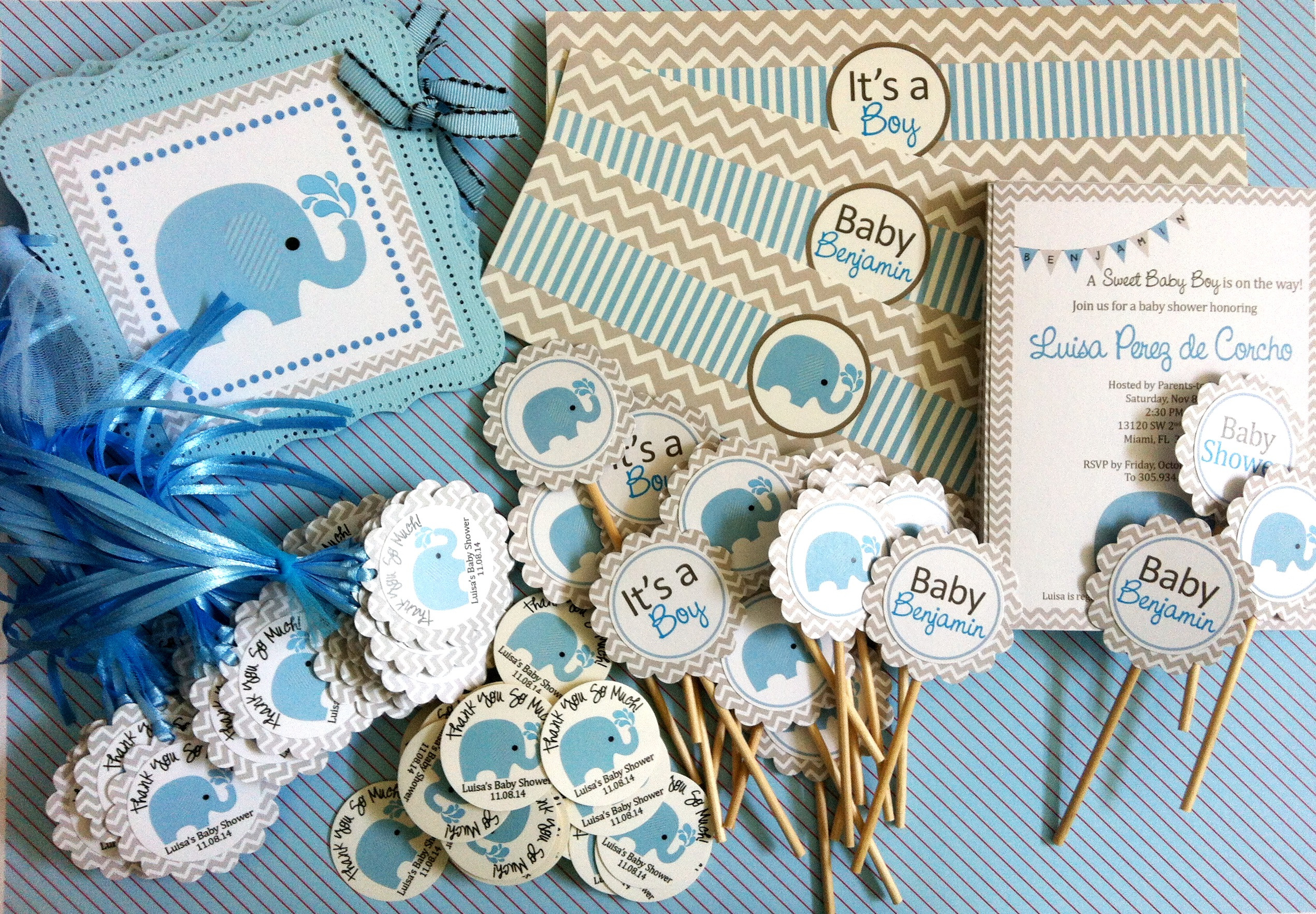 Elephant Birthday Decorations  Blue Elephant Water Bottle Labels for Baby Boy