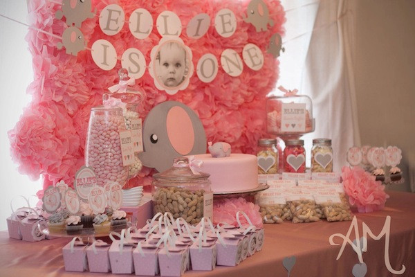Elephant Birthday Decorations  Kara s Party Ideas Pink Elephant 1st Birthday Party