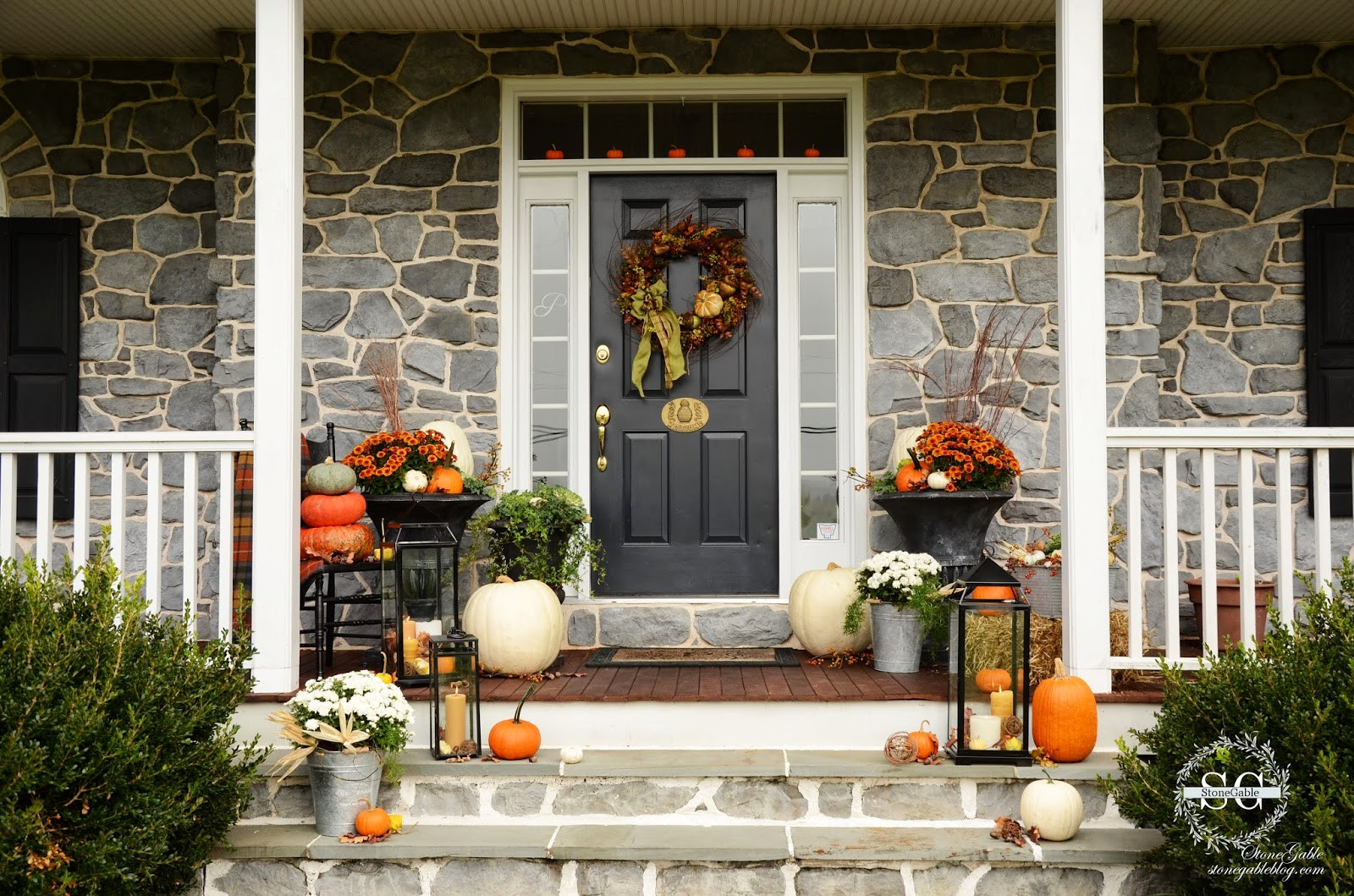 Fall Decorations For Front Porch  FALL ON THE FRONT PORCH StoneGable