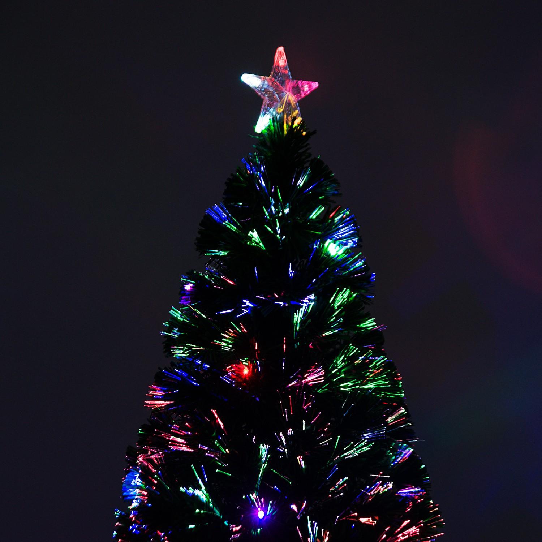 Fiber Optic Christmas Lighting  6 Fiber Optic w 24 LED Lights Holiday Pre Lit Artificial