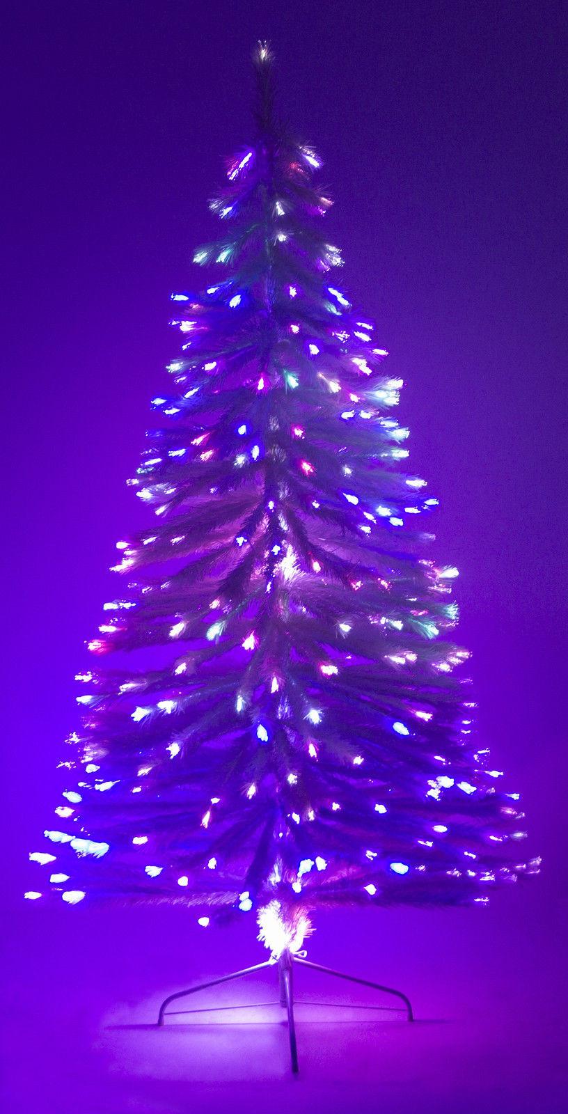 Fiber Optic Christmas Lighting  6 Ft White Artificial Holiday Christmas Tree w Fiber