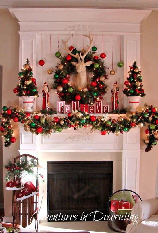Fireplace Mantel Christmas Ideas  40 Wonderful Christmas Mantel Decorations Ideas All
