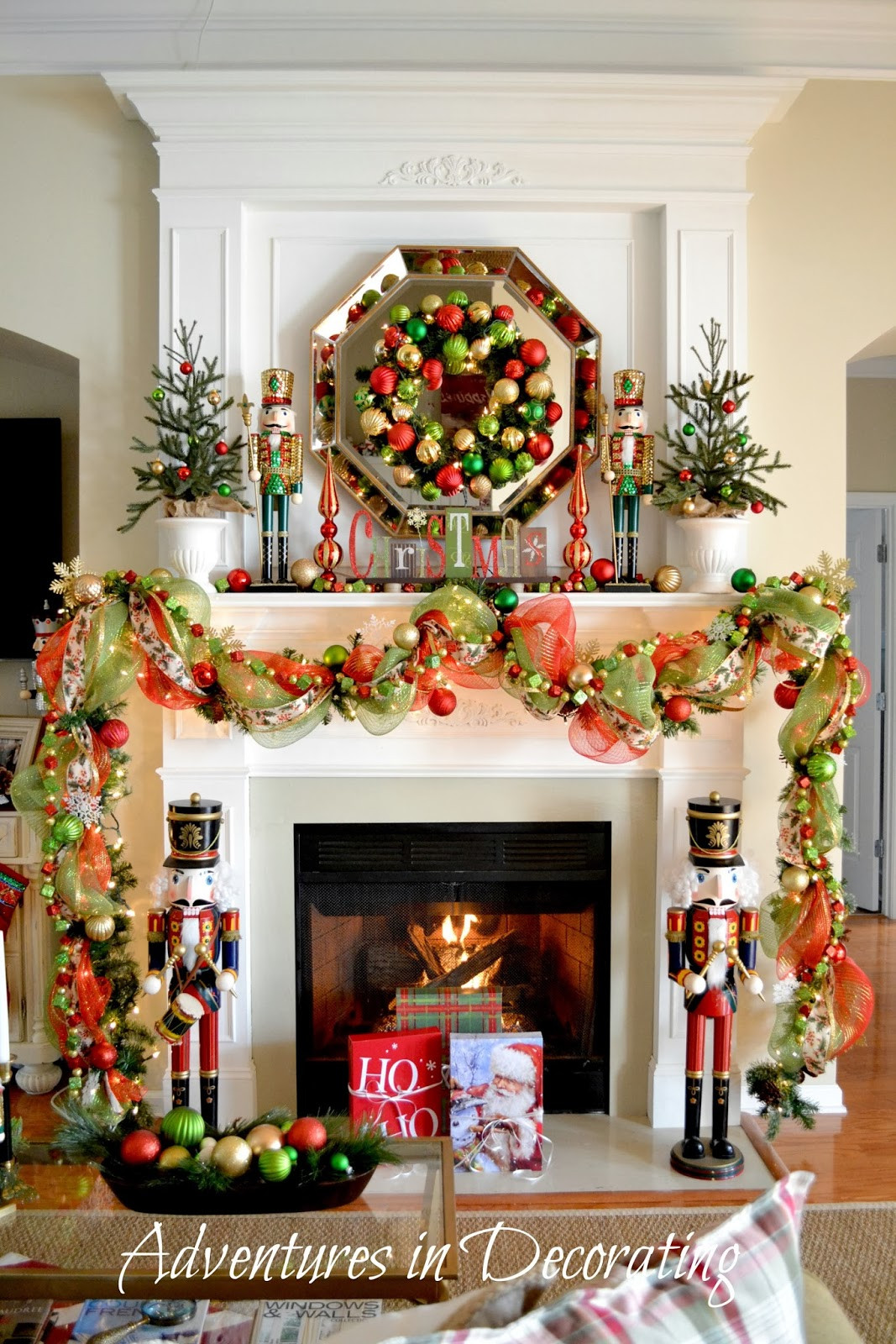 """Fireplace Mantel Christmas Ideas  Adventures in Decorating Our Christmas Mantel and """"Deck"""