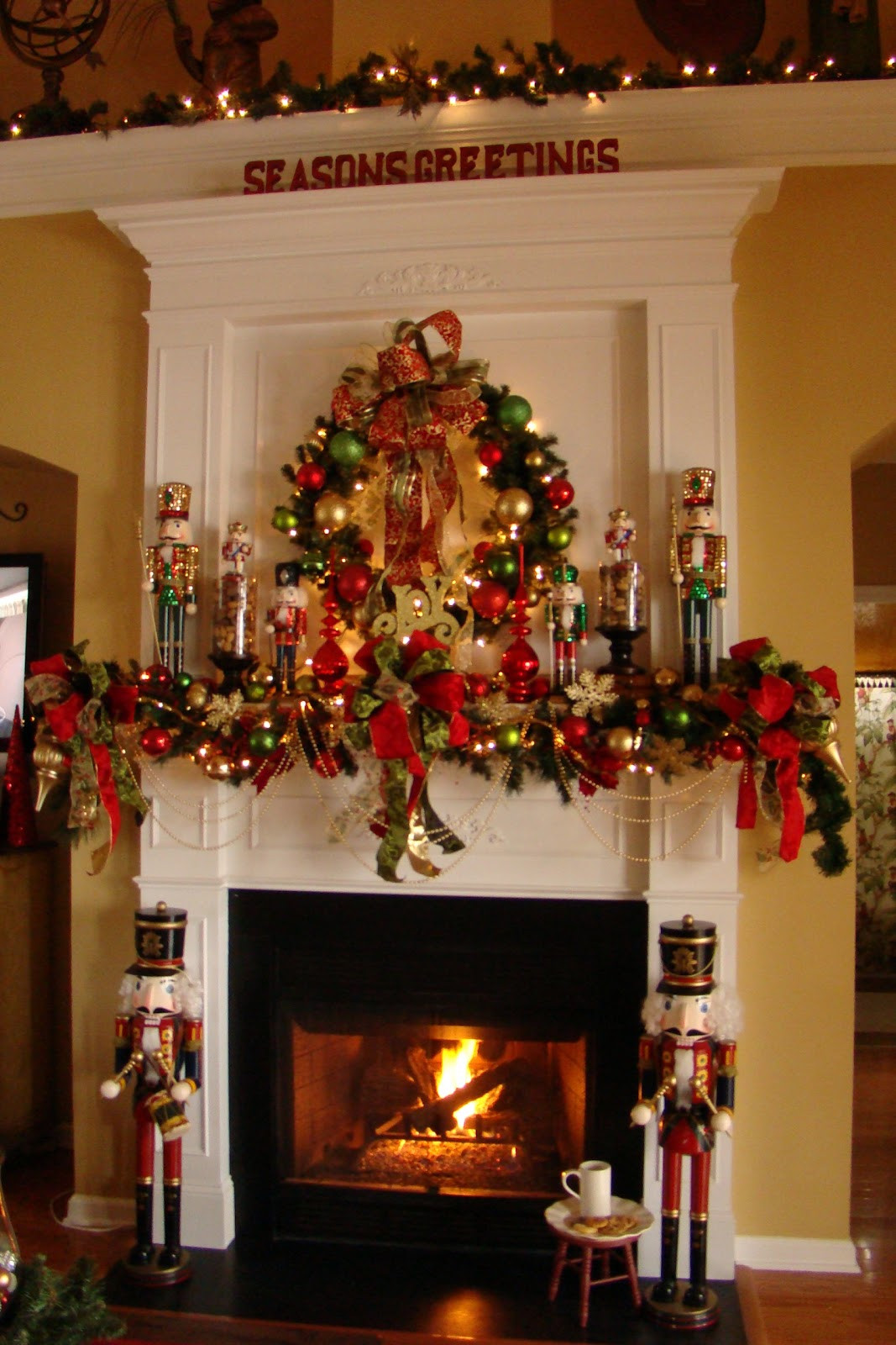 Fireplace Mantel Christmas Ideas  Adventures in Decorating Nutcracker Mantel