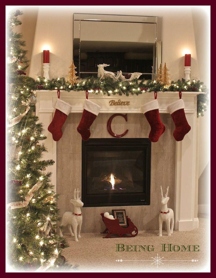 Fireplace Mantel Christmas Ideas  Best 25 Christmas fireplace ideas on Pinterest