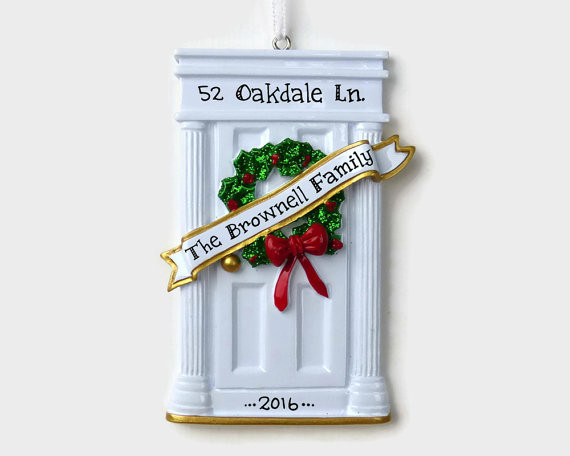 First Apartment Christmas Ornament  White Door New Home First Apartment Personalized Ornament