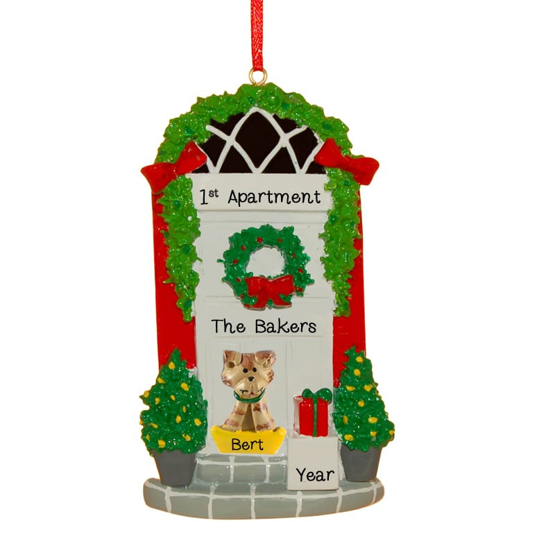 First Apartment Christmas Ornament  First Apartment WHITE Door CAT Personalized Ornament