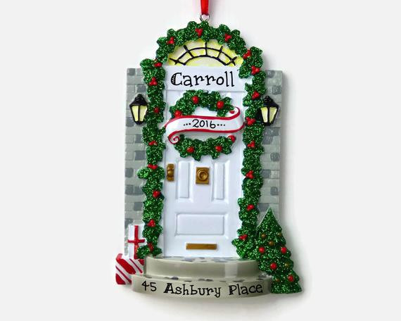 First Apartment Christmas Ornament  SHIPS FREE White Door Personalized Ornament New Home