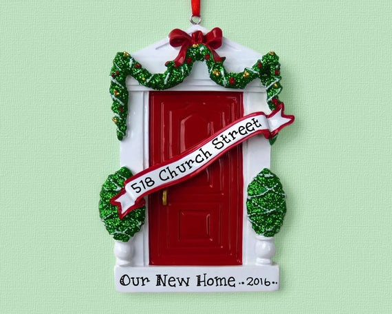 First Apartment Christmas Ornament  Red Door New Home First Apartment Personalized Ornament