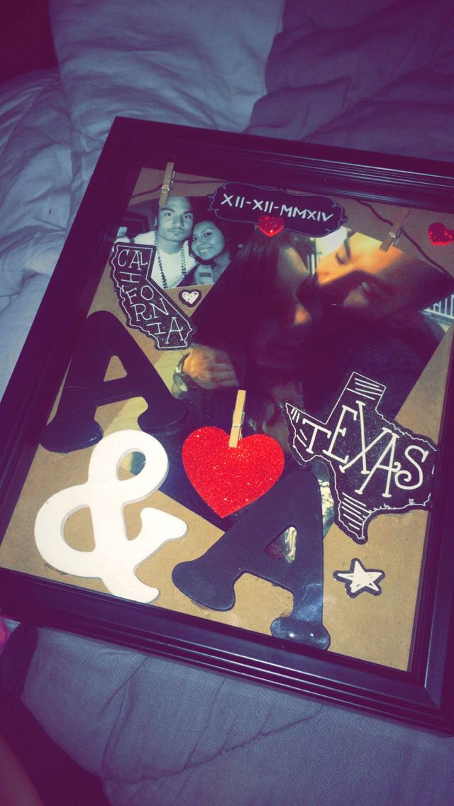 First Christmas Together Gift Ideas For Him  Shadow box I made for my boyfriend in Texas