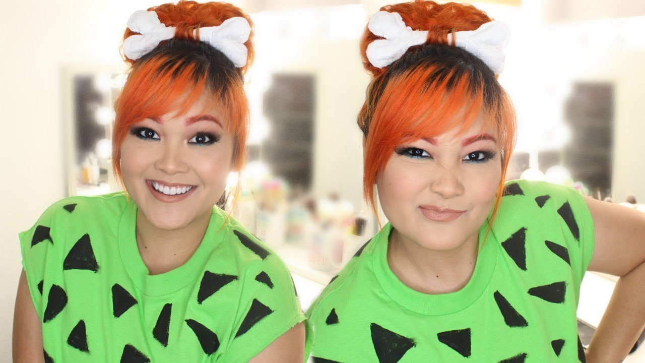 Flintstones Costumes DIY  DIY Pebbles Flintstones Halloween Costume Hair Makeup