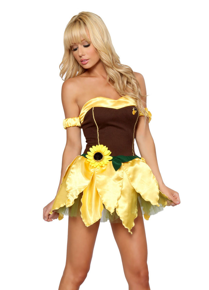 Flower Halloween Costume For Adults  Gold Strapless Sunflower Flower Halloween Costume Flower