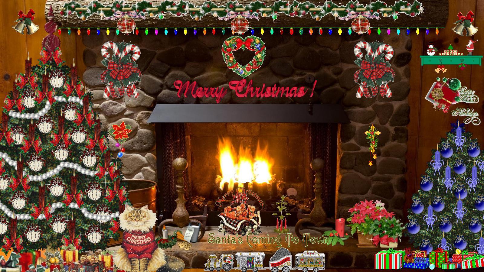 Free Christmas Fireplace Screensaver  Dreamscapes Animated Wallpaper WallpaperSafari