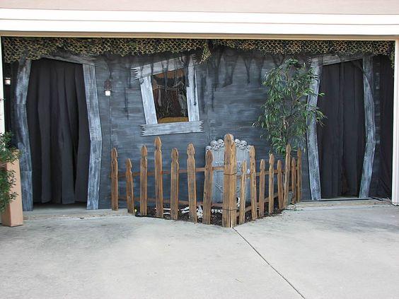 Garage Door Halloween Decoration  Haunted garage entrance would be better it the doors