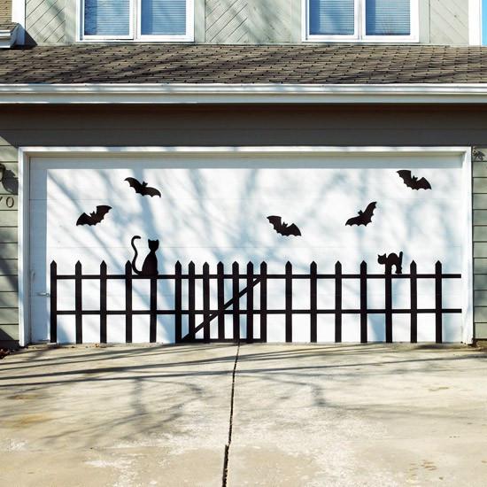Garage Door Halloween Decoration  Show Me Crafting Outdoor Halloween Decor Ideas via Pinterest
