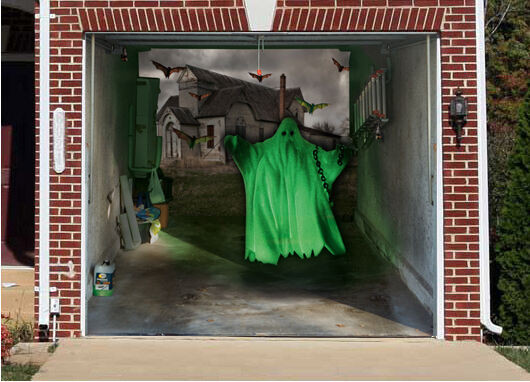 Garage Halloween Decorations  3D EFFECT GARAGE DOOR BILLBOARD COVER GREEN GHOST