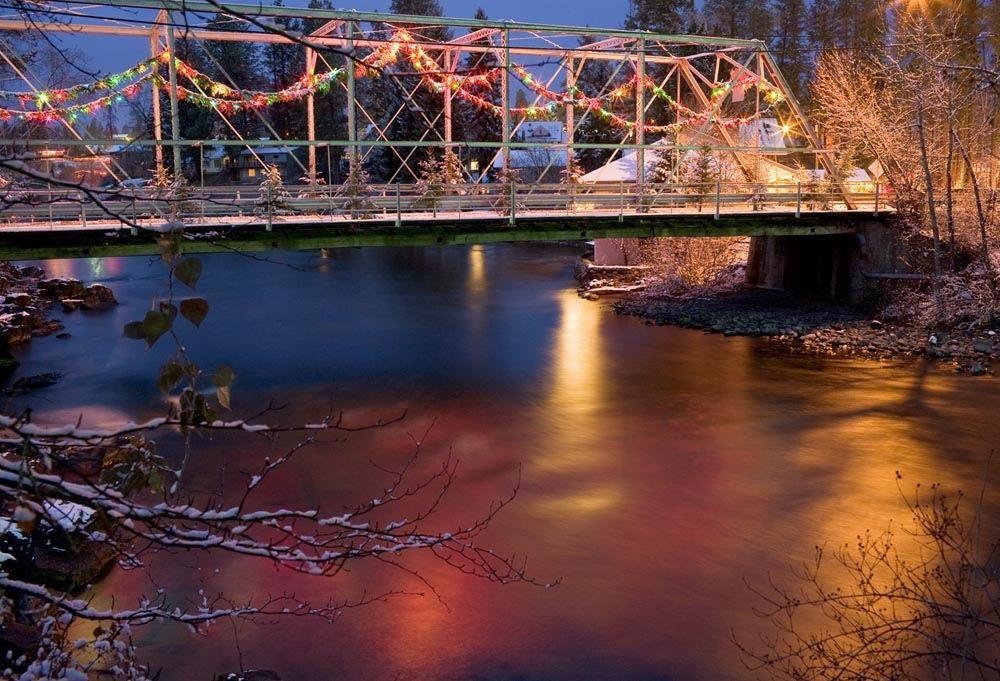 Great Bridge Christmas Parade  Christmas in Bigfork Montana Swan River Bridge i