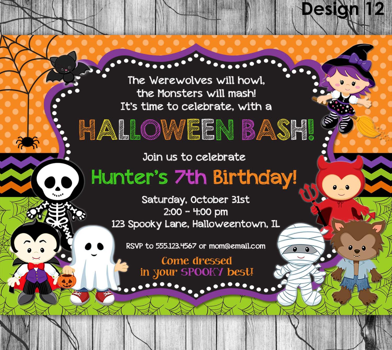 Halloween Birthday Party Invitation Ideas  HALLOWEEN Birthday Invitation PRINTABLE Kids Halloween Party