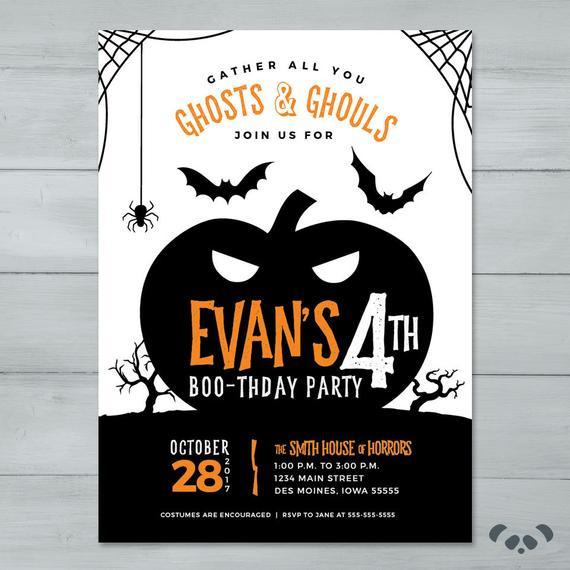 Halloween Birthday Party Invitation Ideas  Halloween Birthday Party Invitation Pumpkin Spooky