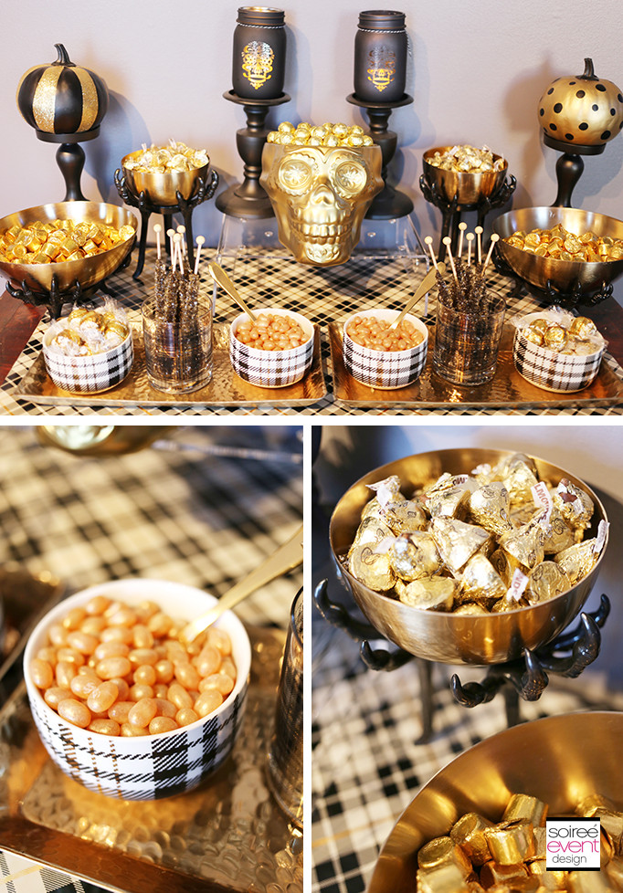 Halloween Candy Table  Trend Alert Gold & Plaid Halloween Glam Dinner Party