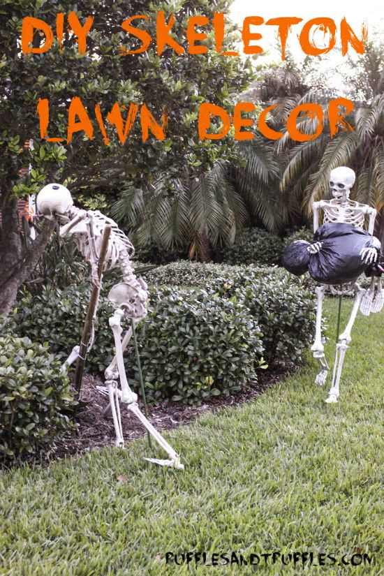 Halloween Decoration Outdoor  DIY Skeleton Lawn Decor for Halloween Instructions for