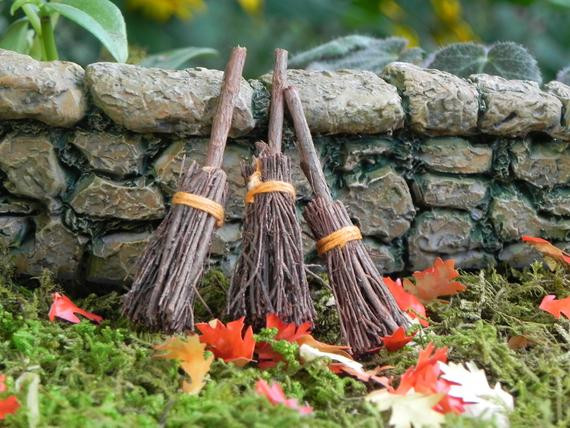 Halloween Fairy Garden Accessories  Broom miniature garden supply fairy garden accessories