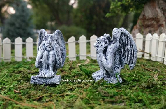 Halloween Fairy Garden Accessories  Halloween Fairy Garden Gargoyles Set of Angsty Scared Fall