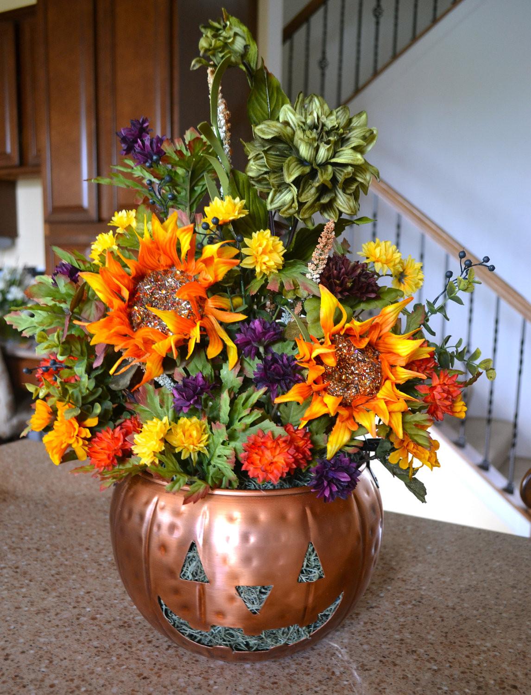 Halloween Flower Arrangements  Halloween Pumpkin Floral Arrangement Sunflowers Dahlia