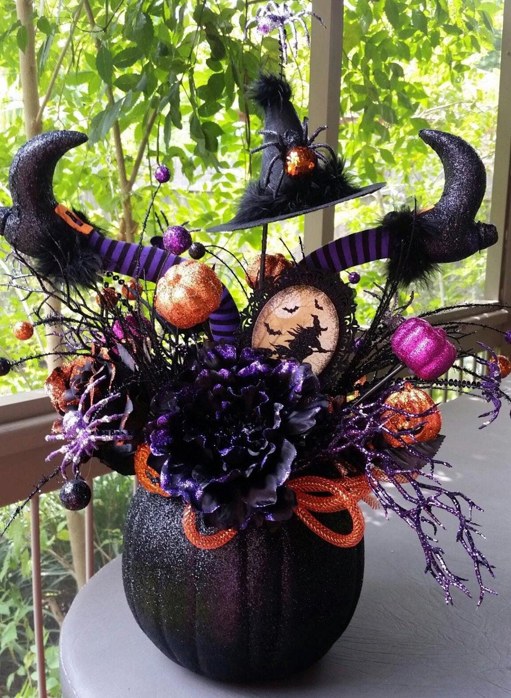 Halloween Flower Arrangements  Pumpkin Centerpiece Halloween Decor Halloween Floral