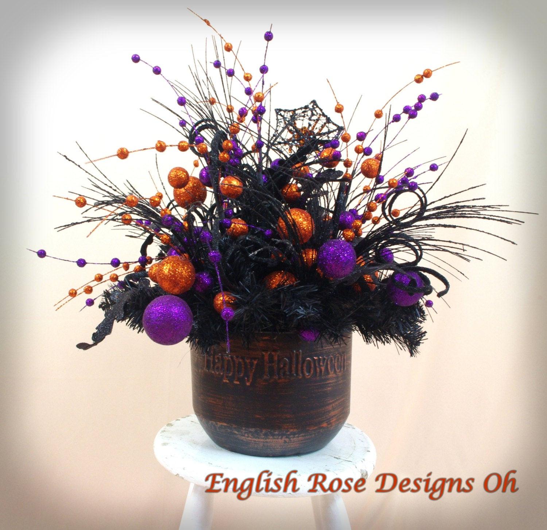 Halloween Flower Arrangements  Witch Cauldron Centerpiece Halloween Decor Witch Decor
