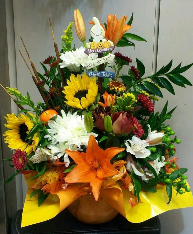 Halloween Flower Arrangements  Halloween floral arrangement Halloween