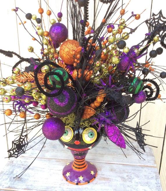 Halloween Flower Arrangements  Halloween arrangementhalloween centerpiece Halloween floral
