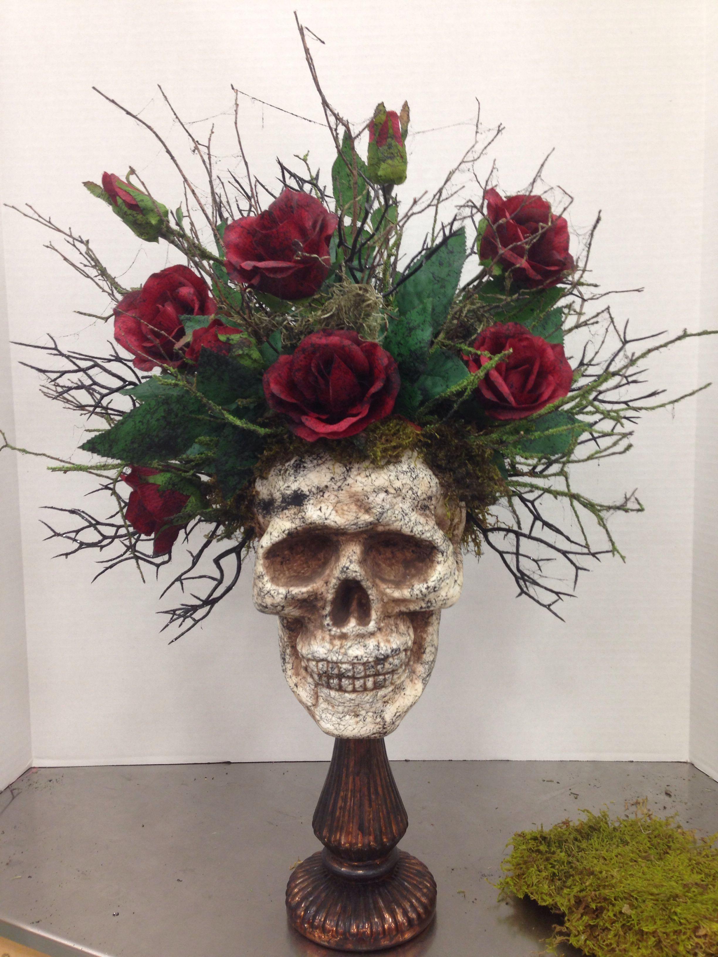 Halloween Flower Arrangements  Halloween skull floral arrangement by Kim T