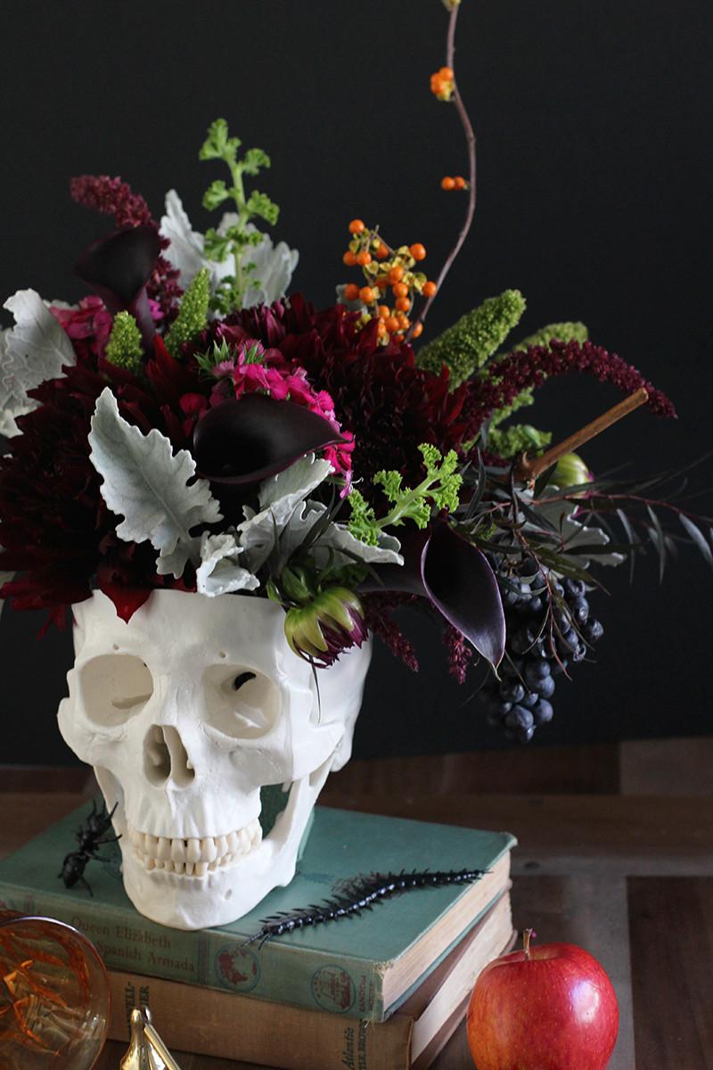 Halloween Flower Arrangements  DIY Floral Skull Centerpiece – HonestlyYUM