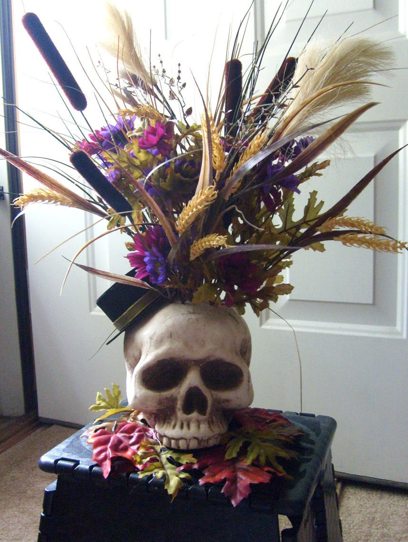 Halloween Flower Arrangements  HALLOWEEN SKELTON SKULL FLOWER ARRANGEMENT DECORATION SALE FOR