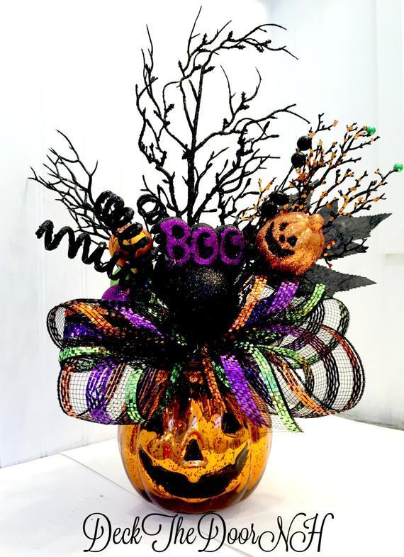 Halloween Flower Arrangements  Pumpkin arrangement Halloween arrangement deco mesh pumpkin