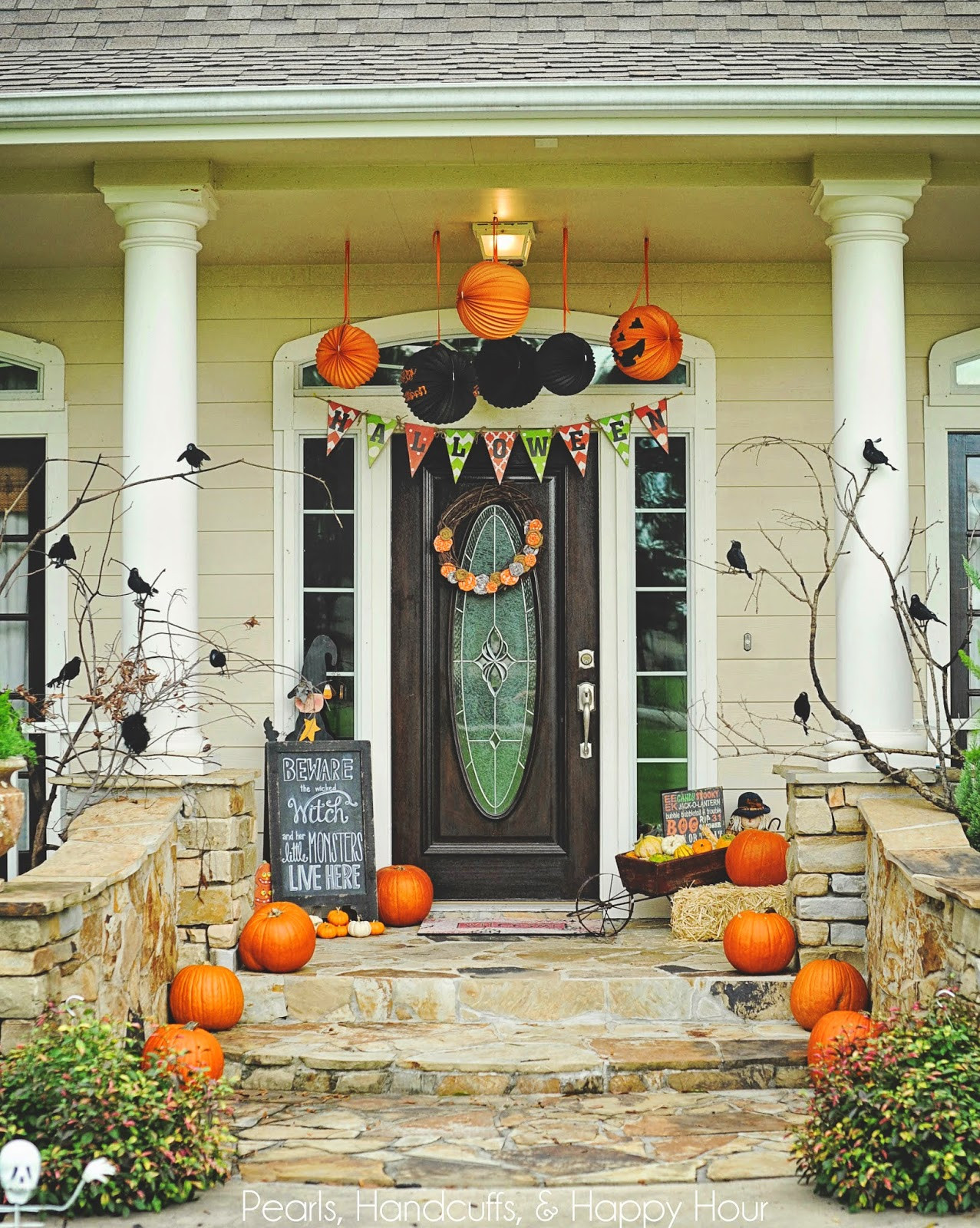 Halloween Front Porch Ideas  Pearls Handcuffs and Happy Hour Halloween Porch