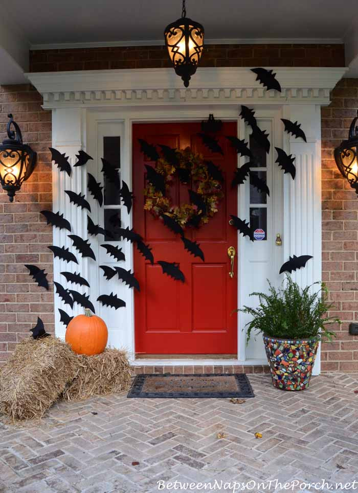 Halloween Front Porch Ideas  Halloween Porch Decorations With Flying Bats