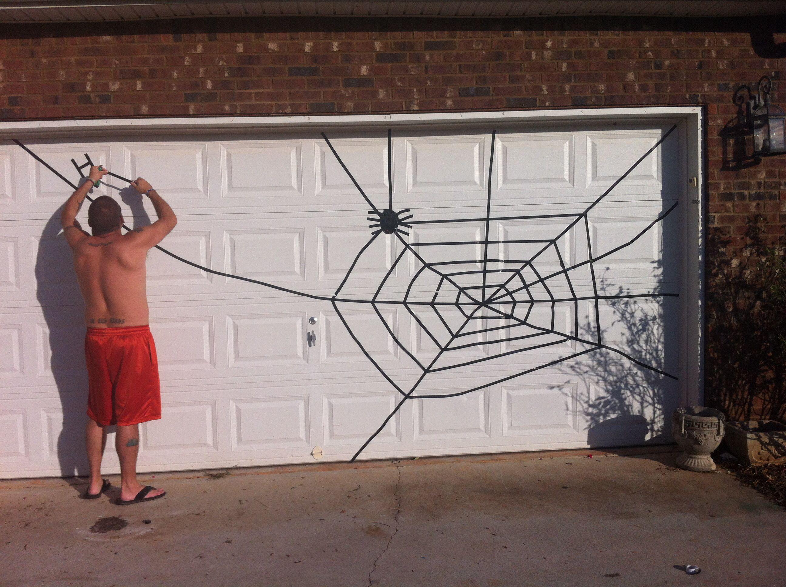 Halloween Garage Door Decoration  Spider web for Halloween Garage Door Use electrical tape