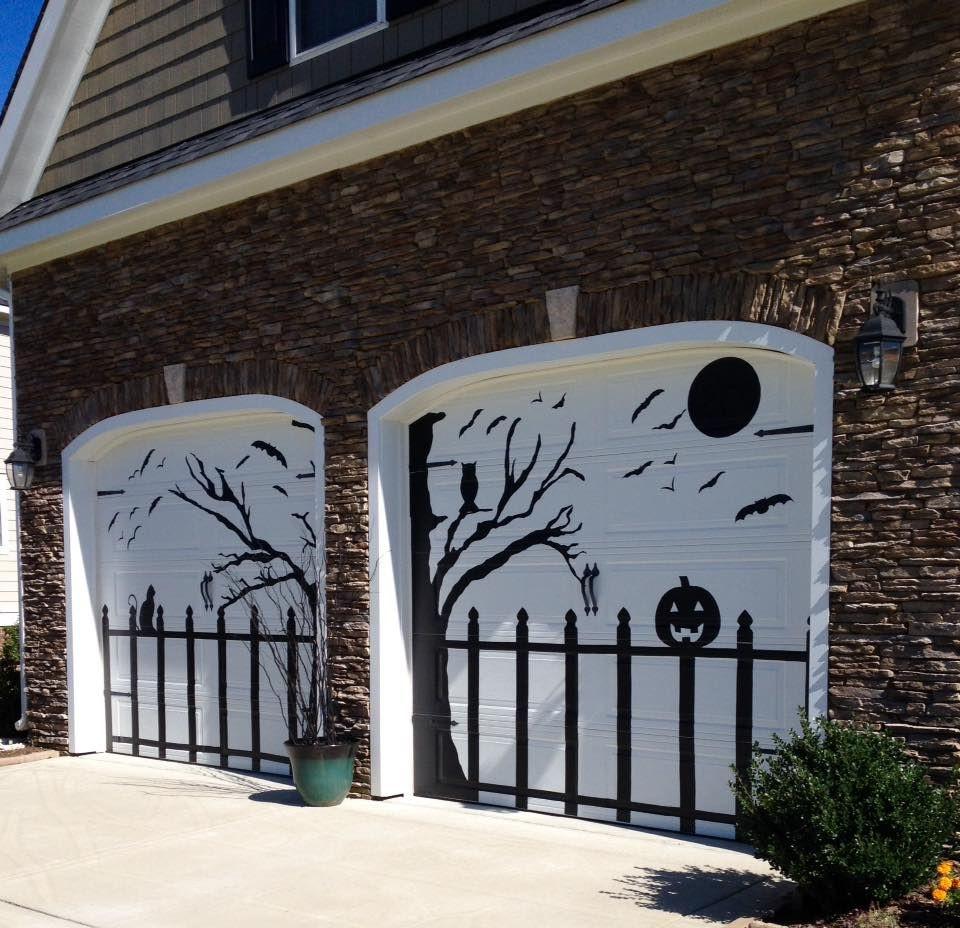 Halloween Garage Door Decoration  Halloween Garage door decorated using black contact paper