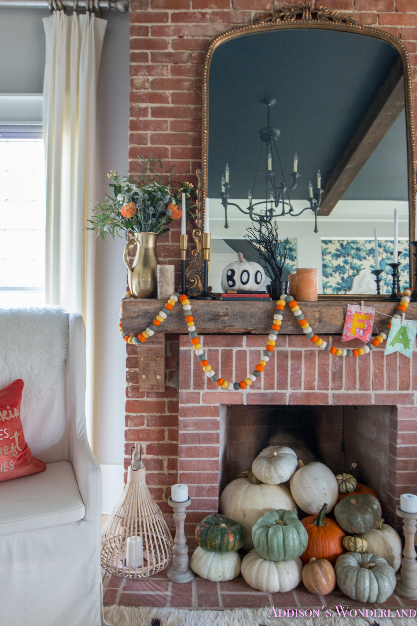 Halloween Living Room Decor  Our Fall & Halloween Living Room Decor w Mantle Ideas