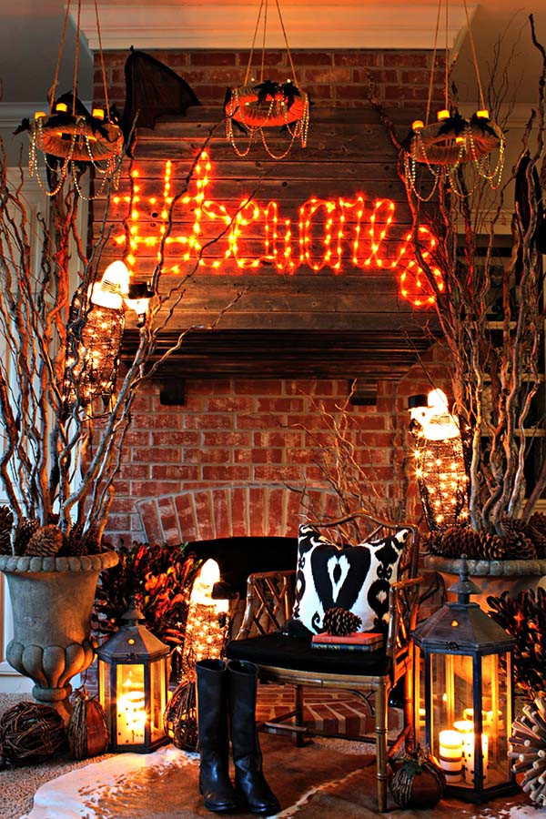 Halloween Living Room Decor  23 Best Ideas For Halloween Decorations Fireplace and Mantel
